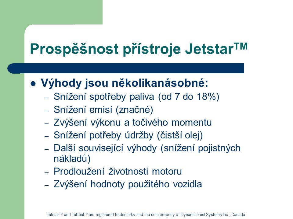 Prospěšnost přístroje Jetstar TM Výhody jsou několikanásobné: – Snížení spotřeby paliva (od 7 do 18%) – Snížení emisí (značné) – Zvýšení výkonu a točivého momentu – Snížení potřeby údržby (čistší olej) – Další související výhody (snížení pojistných nákladů) – Prodloužení životnosti motoru – Zvýšení hodnoty použitého vozidla Jetstar™ and Jetfuel™ are registered trademarks and the sole property of Dynamic Fuel Systems Inc., Canada.