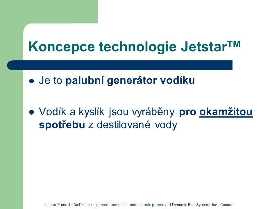 Koncepce technologie Jetstar TM Je to palubní generátor vodíku Vodík a kyslík jsou vyráběny pro okamžitou spotřebu z destilované vody Jetstar™ and Jetfuel™ are registered trademarks and the sole property of Dynamic Fuel Systems Inc., Canada.