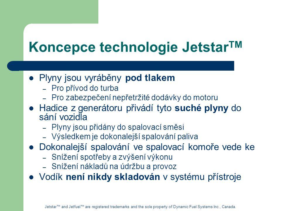 Koncepce technologie Jetstar TM Plyny jsou vyráběny pod tlakem – Pro přívod do turba – Pro zabezpečení nepřetržité dodávky do motoru Hadice z generátoru přivádí tyto suché plyny do sání vozidla – Plyny jsou přidány do spalovací směsi – Výsledkem je dokonalejší spalování paliva Dokonalejší spalování ve spalovací komoře vede ke – Snížení spotřeby a zvýšení výkonu – Snížení nákladů na údržbu a provoz Vodík není nikdy skladován v systému přístroje Jetstar™ and Jetfuel™ are registered trademarks and the sole property of Dynamic Fuel Systems Inc., Canada.