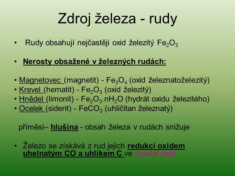 Zdroj železa - rudy Rudy obsahují nejčastěji oxid železitý Fe 2 O 3 Nerosty obsažené v železných rudách: Magnetovec (magnetit) - Fe 3 O 4 (oxid železn