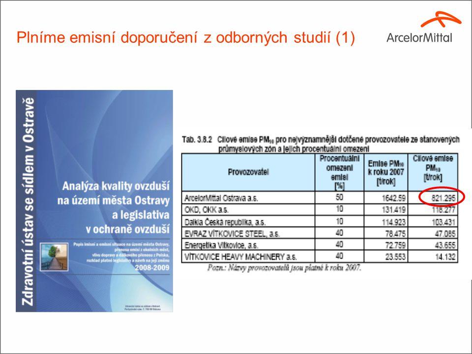Plníme emisní doporučení z odborných studií (1)