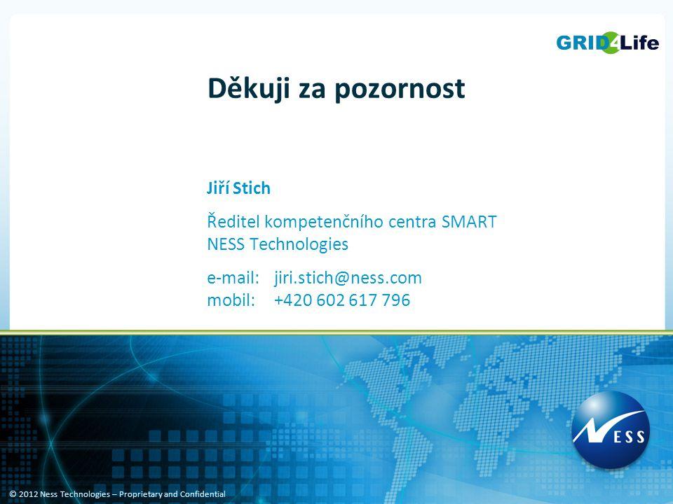 © 2012 Ness Technologies – Proprietary and Confidential Děkuji za pozornost Jiří Stich Ředitel kompetenčního centra SMART NESS Technologies e-mail:jiri.stich@ness.com mobil:+420 602 617 796