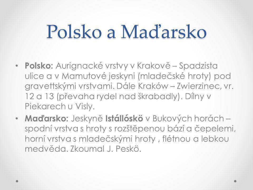 Polsko a Maďarsko Polsko: Aurignacké vrstvy v Krakově – Spadzista ulice a v Mamutové jeskyni (mladečské hroty) pod gravettskými vrstvami.