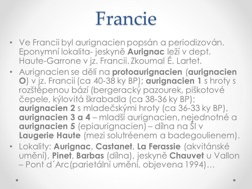 Francie Ve Francii byl aurignacien popsán a periodizován.