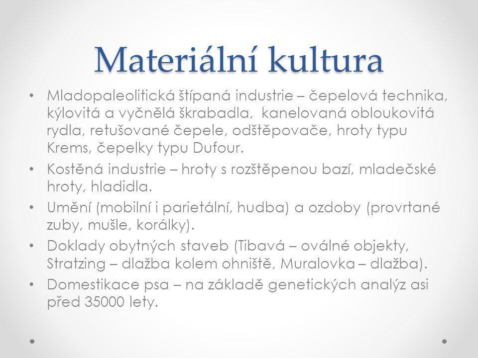 Materiální kultura Mladopaleolitická štípaná industrie – čepelová technika, kýlovitá a vyčnělá škrabadla, kanelovaná obloukovitá rydla, retušované čepele, odštěpovače, hroty typu Krems, čepelky typu Dufour.