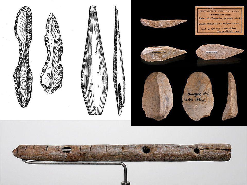 Datování Časný aurignacien (Willendorf AH3, Švábská Jura) a protoaurignacien (Francie, Itálie, Kantábrie, snad i Bačo Kiro) – 43-36 ky BP.