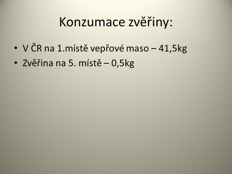 Konzumace zvěřiny: V ČR na 1.místě vepřové maso – 41,5kg Zvěřina na 5. místě – 0,5kg