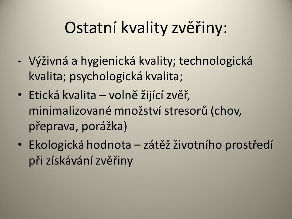 Ostatní kvality zvěřiny: -Výživná a hygienická kvality; technologická kvalita; psychologická kvalita; Etická kvalita – volně žijící zvěř, minimalizova