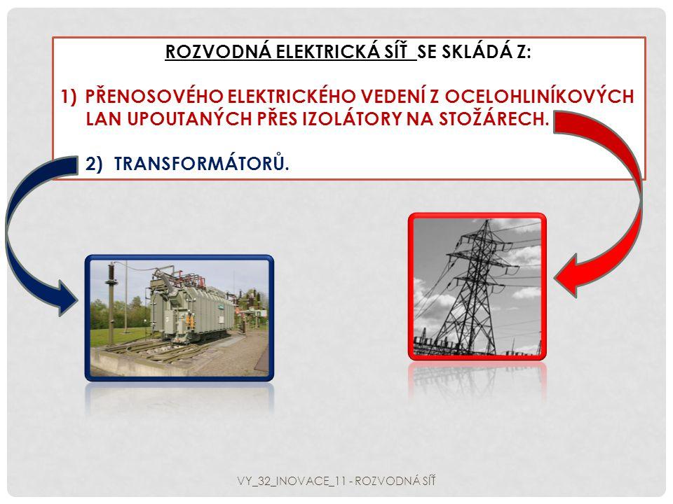 1)Napětí 6,3 kV až 10 kV získané v alternátorech elektrárny se transformuje na velmi vysoké napětí elektrárny se transformuje na velmi vysoké napětí 220 kV, případně 400 kV a pro mezistátní přenos 220 kV, případně 400 kV a pro mezistátní přenos 750 kV a 1000 kV.