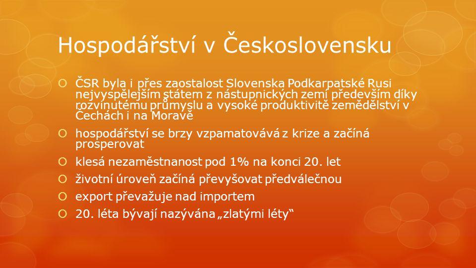 Hospodářství v Československu  ČSR byla i přes zaostalost Slovenska Podkarpatské Rusi nejvyspělejším státem z nástupnických zemí především díky rozvi