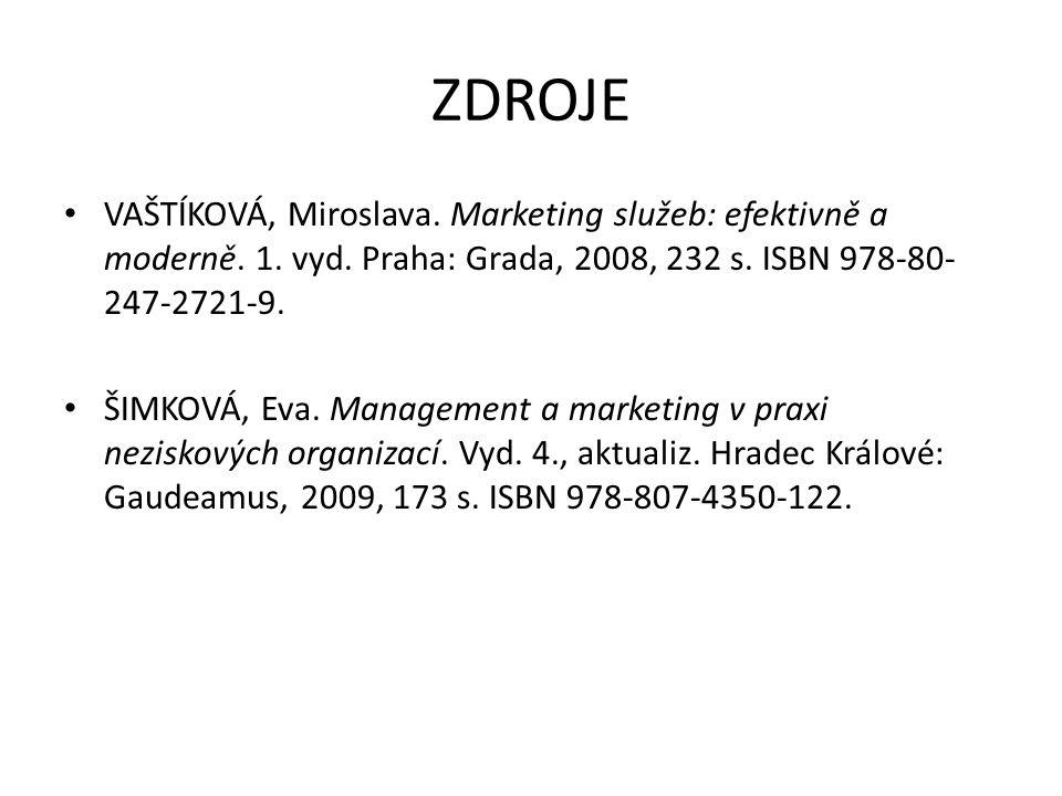 ZDROJE VAŠTÍKOVÁ, Miroslava. Marketing služeb: efektivně a moderně.
