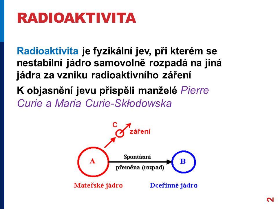 RADIOAKTIVITA 2 Radioaktivita je fyzikální jev, při kterém se nestabilní jádro samovolně rozpadá na jiná jádra za vzniku radioaktivního záření K objas