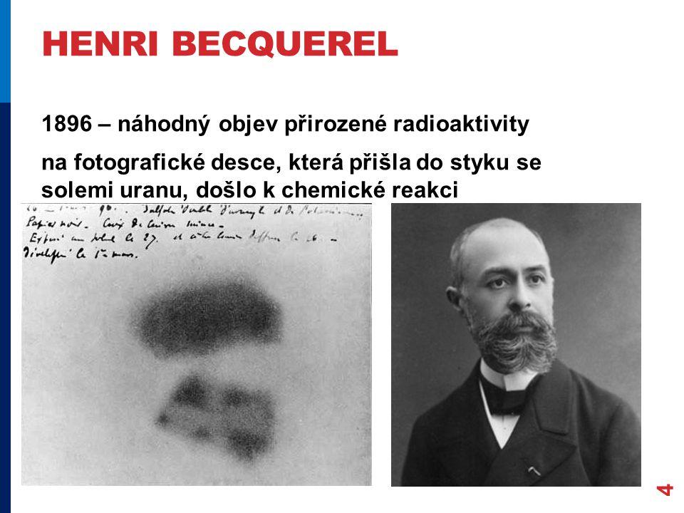 HENRI BECQUEREL 4 1896 – náhodný objev přirozené radioaktivity na fotografické desce, která přišla do styku se solemi uranu, došlo k chemické reakci