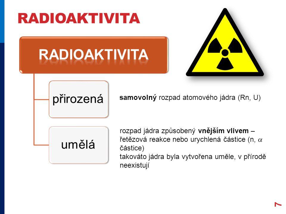 RADIOAKTIVITA 7 přirozenáumělá samovolný rozpad atomového jádra (Rn, U) rozpad jádra způsobený vnějším vlivem – řetězová reakce nebo urychlená částice