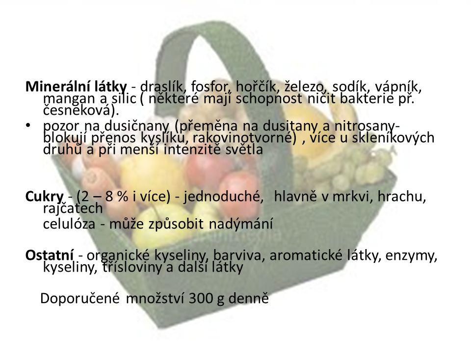 Zeleninu rozdělujeme podle Používané části rostliny - na košťálovou, kořenovou, listovou, luskovou, plodovou, cibulovou, stonkovou, kořeninovou Způsobu výroby - rychlenou (skleníkovou, pařeništní) a polní Délky vegetační doby - ranou, poloranou, letní, pozdní