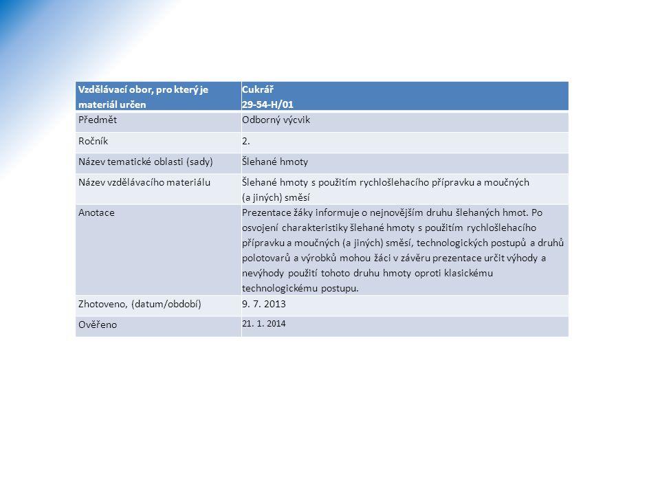 Vzdělávací obor, pro který je materiál určen Cukrář 29-54-H/01 PředmětOdborný výcvik Ročník2. Název tematické oblasti (sady)Šlehané hmoty Název vzdělá