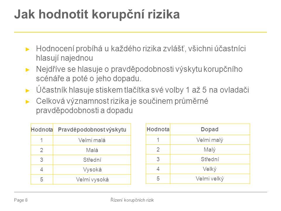 Page 8 Jak hodnotit korupční rizika ► Hodnocení probíhá u každého rizika zvlášť, všichni účastníci hlasují najednou ► Nejdříve se hlasuje o pravděpodo