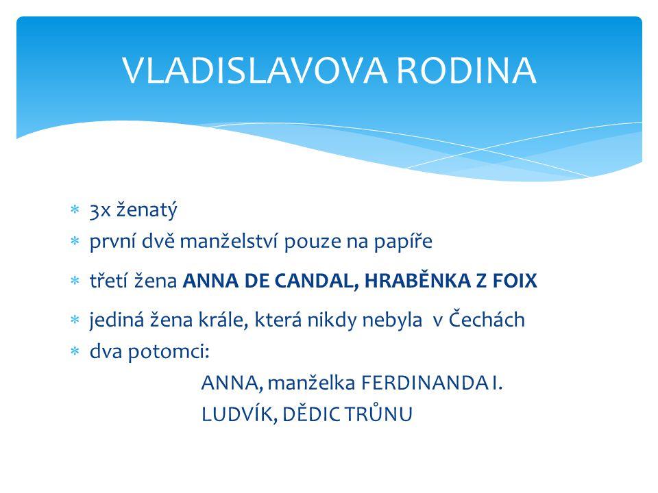  3x ženatý  první dvě manželství pouze na papíře  třetí žena ANNA DE CANDAL, HRABĚNKA Z FOIX  jediná žena krále, která nikdy nebyla v Čechách  dva potomci: ANNA, manželka FERDINANDA I.