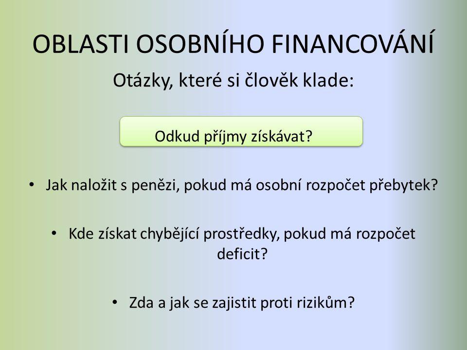 OBLASTI OSOBNÍHO FINANCOVÁNÍ Otázky, které si člověk klade: Odkud příjmy získávat? Jak naložit s penězi, pokud má osobní rozpočet přebytek? Kde získat
