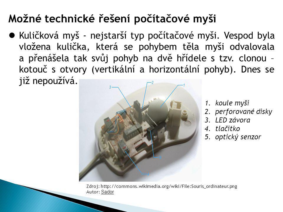 Možné technické řešení počítačové myši Kuličková myš - nejstarší typ počítačové myši. Vespod byla vložena kulička, která se pohybem těla myši odvalova