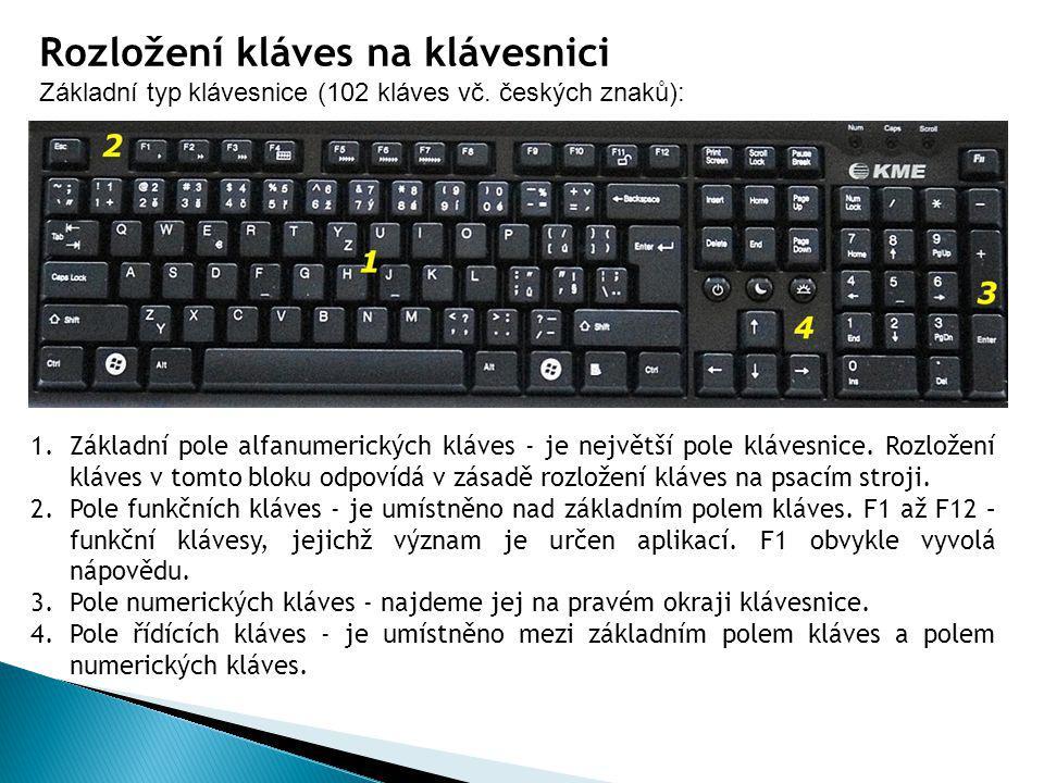 Rozložení kláves na klávesnici Základní typ klávesnice (102 kláves vč. českých znaků): 1.Základní pole alfanumerických kláves - je největší pole kláve