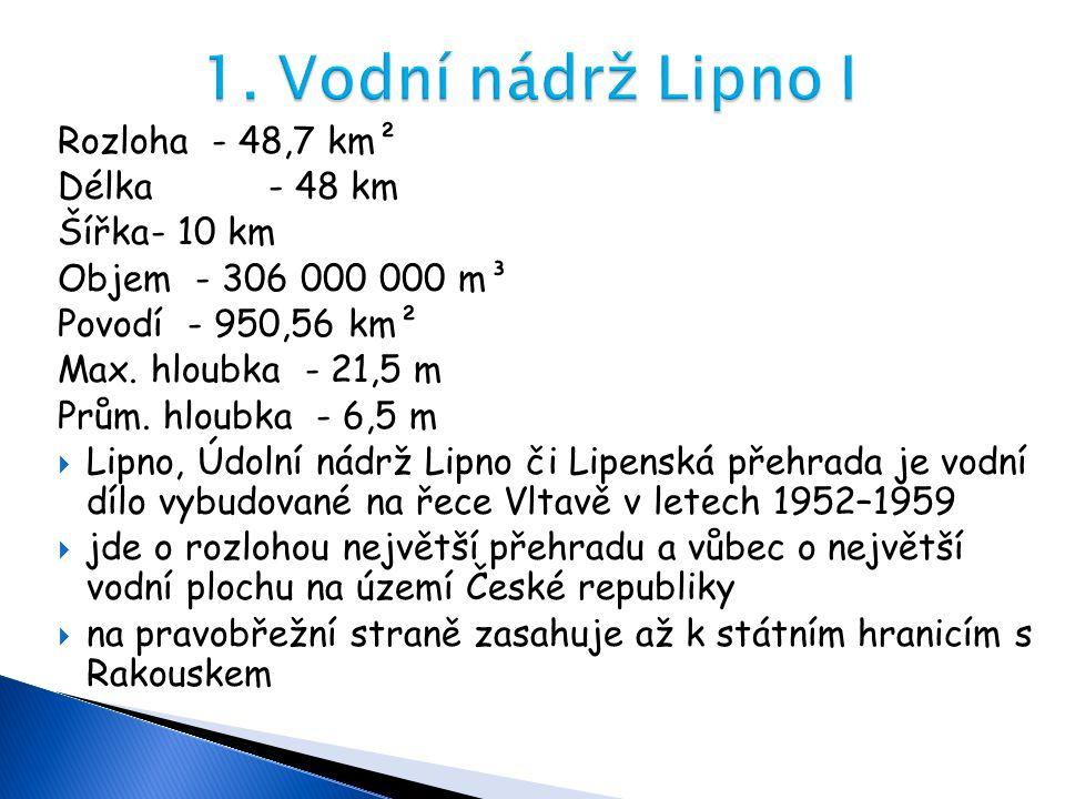 Rozloha - 48,7 km² Délka - 48 km Šířka- 10 km Objem - 306 000 000 m³ Povodí - 950,56 km² Max. hloubka - 21,5 m Prům. hloubka - 6,5 m  Lipno, Údolní n
