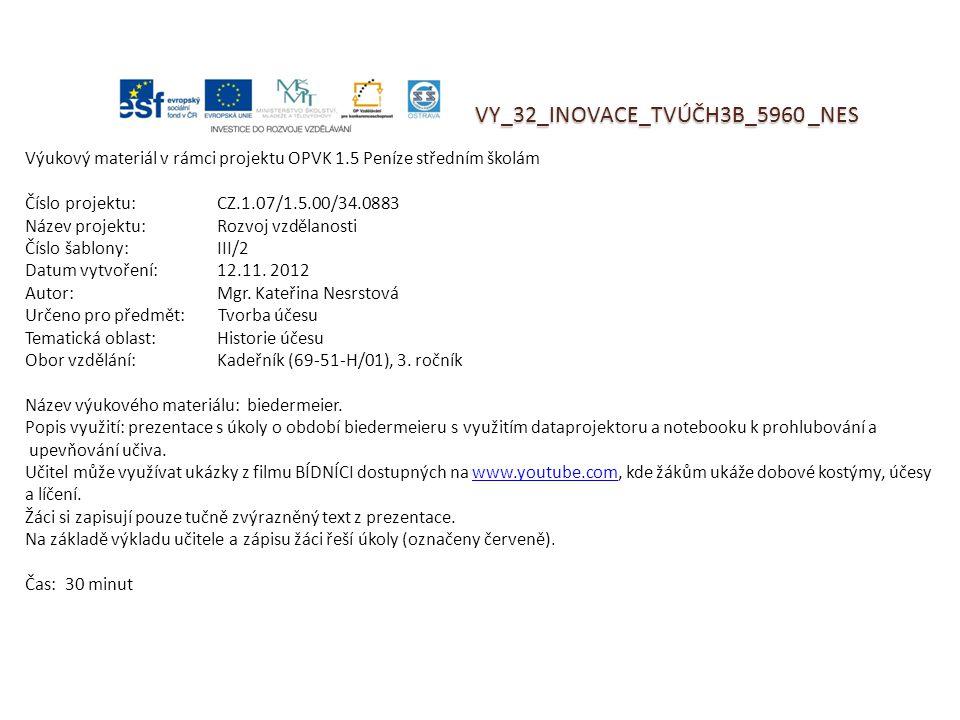 VY_32_INOVACE_TVÚČH3B_5960 _NES Výukový materiál v rámci projektu OPVK 1.5 Peníze středním školám Číslo projektu:CZ.1.07/1.5.00/34.0883 Název projektu:Rozvoj vzdělanosti Číslo šablony: III/2 Datum vytvoření:12.11.