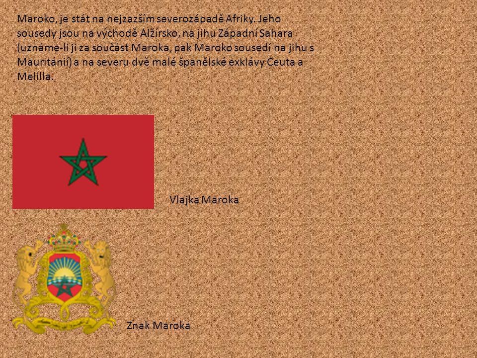 Maroko, je stát na nejzazším severozápadě Afriky. Jeho sousedy jsou na východě Alžírsko, na jihu Západní Sahara (uznáme-li ji za součást Maroka, pak M