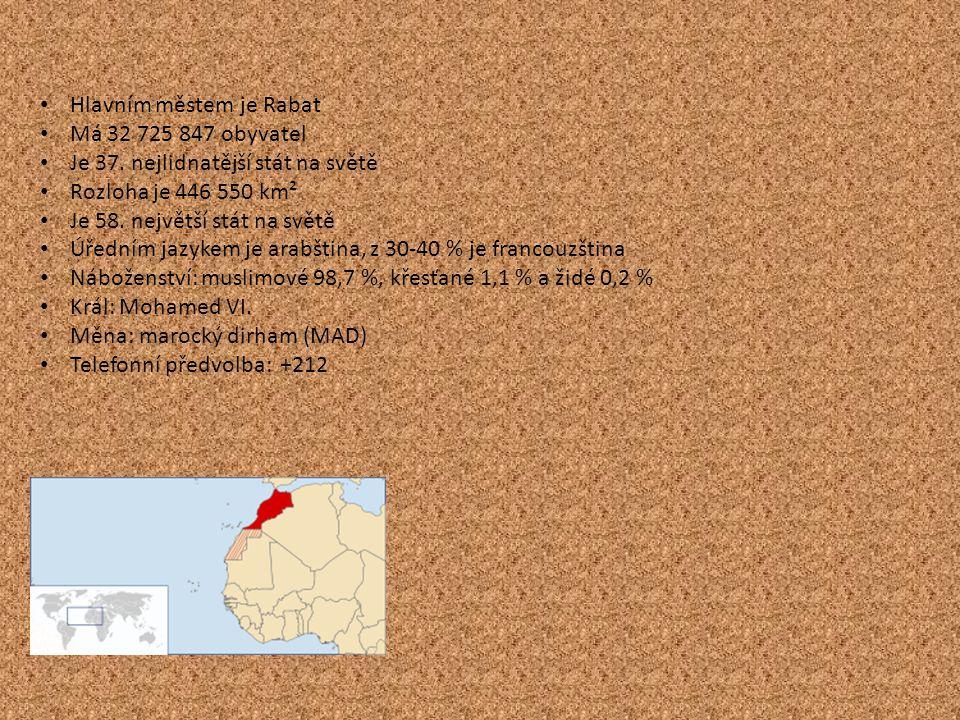 Hlavním městem je Rabat Má 32 725 847 obyvatel Je 37. nejlidnatější stát na světě Rozloha je 446 550 km² Je 58. největší stát na světě Úředním jazykem
