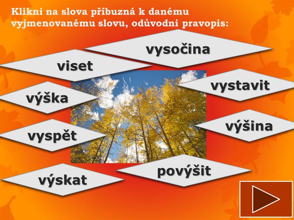 Klikni na slova příbuzná k danému vyjmenovanému slovu, odůvodni pravopis: