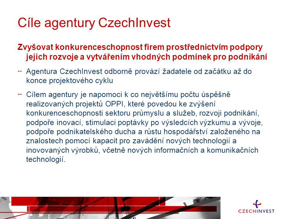 Cíle agentury CzechInvest Zvyšovat konkurenceschopnost firem prostřednictvím podpory jejich rozvoje a vytvářením vhodných podmínek pro podnikání Agentura CzechInvest odborně provází žadatele od začátku až do konce projektového cyklu Cílem agentury je napomoci k co největšímu počtu úspěšně realizovaných projektů OPPI, které povedou ke zvýšení konkurenceschopnosti sektoru průmyslu a služeb, rozvoji podnikání, podpoře inovací, stimulaci poptávky po výsledcích výzkumu a vývoje, podpoře podnikatelského ducha a růstu hospodářství založeného na znalostech pomocí kapacit pro zavádění nových technologií a inovovaných výrobků, včetně nových informačních a komunikačních technologií.