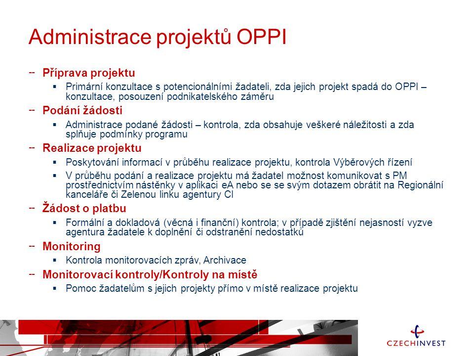 Administrace projektů OPPI Příprava projektu  Primární konzultace s potencionálními žadateli, zda jejich projekt spadá do OPPI – konzultace, posouzení podnikatelského záměru Podání žádosti  Administrace podané žádosti – kontrola, zda obsahuje veškeré náležitosti a zda splňuje podmínky programu Realizace projektu  Poskytování informací v průběhu realizace projektu, kontrola Výběrových řízení  V průběhu podání a realizace projektu má žadatel možnost komunikovat s PM prostřednictvím nástěnky v aplikaci eA nebo se se svým dotazem obrátit na Regionální kanceláře či Zelenou linku agentury CI Žádost o platbu  Formální a dokladová (věcná i finanční) kontrola; v případě zjištění nejasností vyzve agentura žadatele k doplnění či odstranění nedostatků Monitoring  Kontrola monitorovacích zpráv, Archivace Monitorovací kontroly/Kontroly na místě  Pomoc žadatelům s jejich projekty přímo v místě realizace projektu