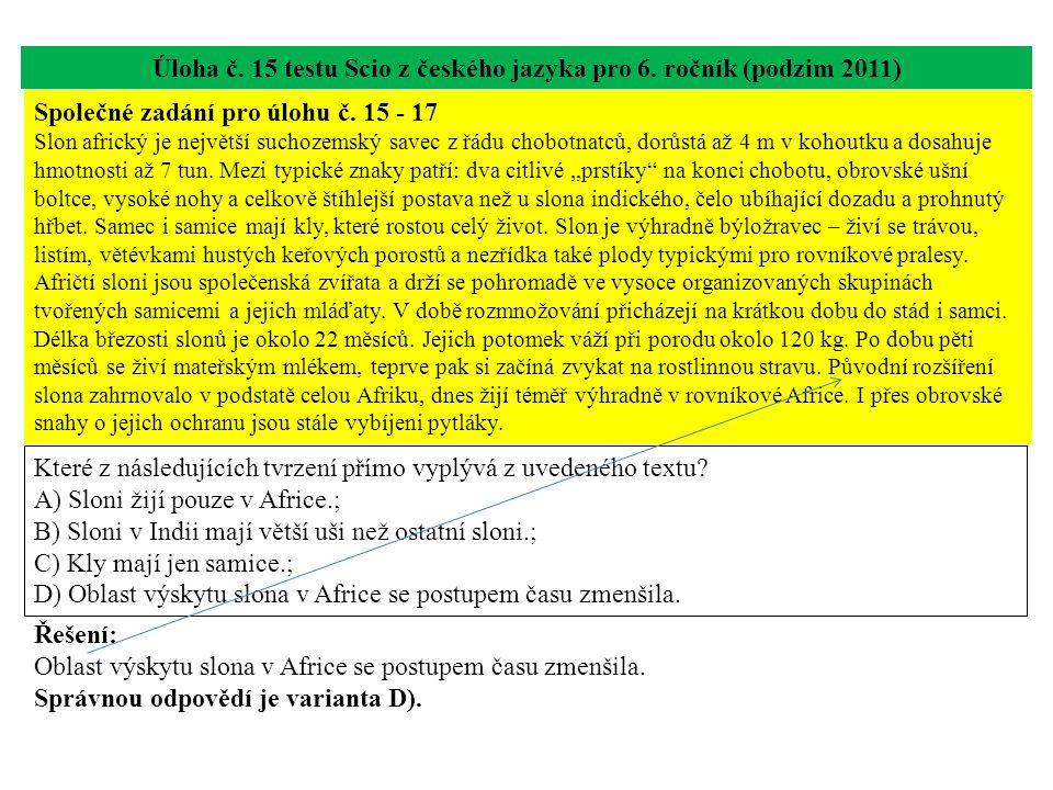 Úloha č. 15 testu Scio z českého jazyka pro 6. ročník (podzim 2011) Které z následujících tvrzení přímo vyplývá z uvedeného textu? A) Sloni žijí pouze