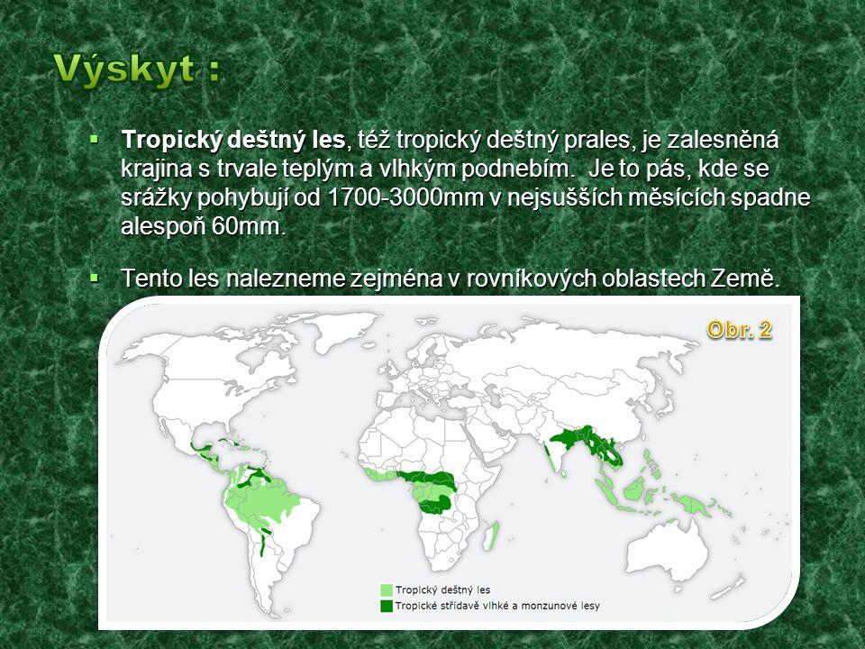  Tropický deštný les, též tropický deštný prales, je zalesněná krajina s trvale teplým a vlhkým podnebím.