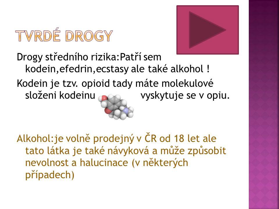 Drogy středního rizika:Patří sem kodein,efedrin,ecstasy ale také alkohol ! Kodein je tzv. opioid tady máte molekulové složeni kodeinu vyskytuje se v o