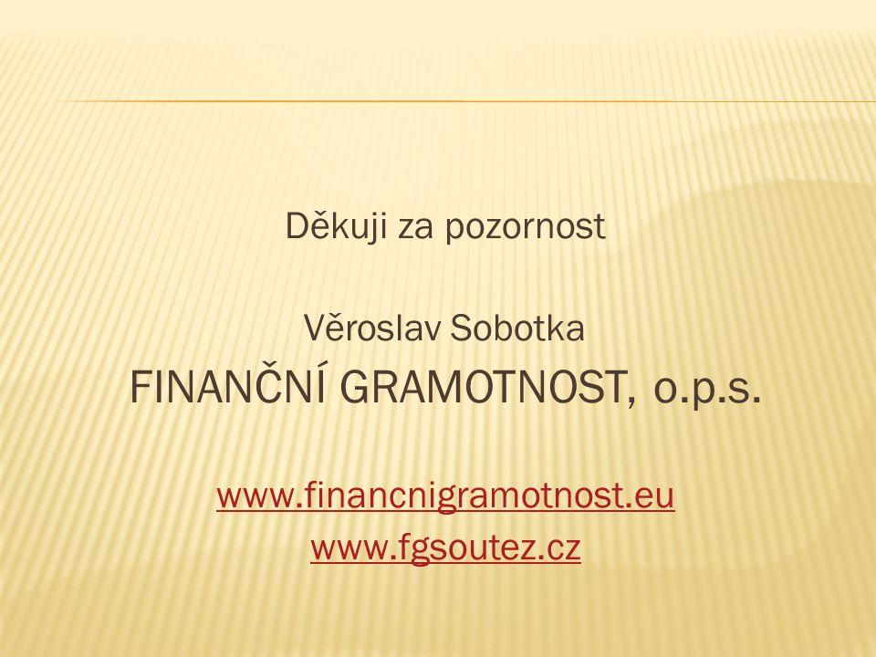 Děkuji za pozornost Věroslav Sobotka FINANČNÍ GRAMOTNOST, o.p.s.