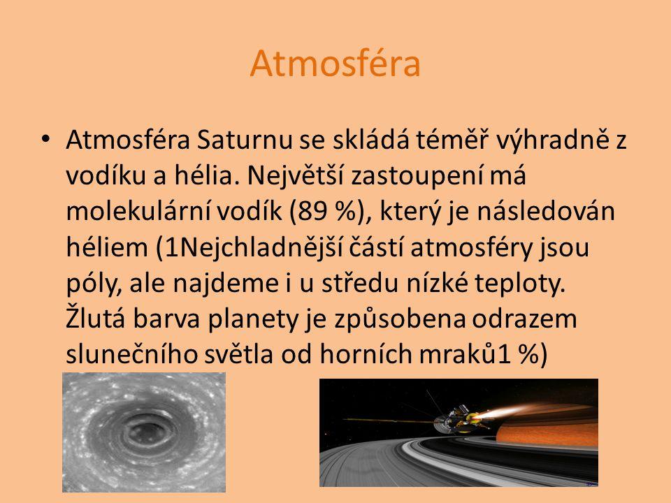 Atmosféra Atmosféra Saturnu se skládá téměř výhradně z vodíku a hélia. Největší zastoupení má molekulární vodík (89 %), který je následován héliem (1N