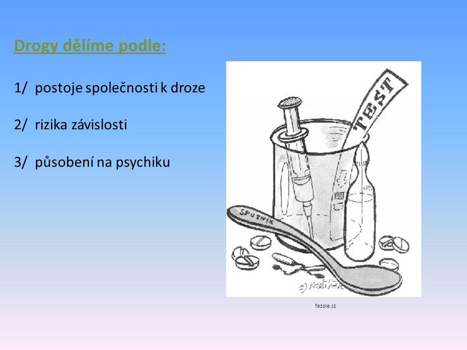 Drogy dělíme podle: 1/ postoje společnosti k droze 2/ rizika závislosti 3/ působení na psychiku fazole.cz