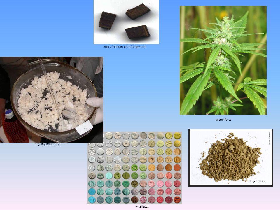"""PODLE RIZIKA ZÁVISLOSTI MĚKKÉ – """"bezpečnější , nehrozí tak velké riziko závislosti TABÁK,KONOPNÉ DROGY, EXTÁZE TVRDÉ – častá nitrožilní aplikace, velké riziko závislosti HEROIN, PERVITIN, KOKAIN MÍRNÉ RIZIKO – tento druh drog společnost akceptuje KOFEIN, MARIHUANA VYSOKÉ RIZIKO – velmi vysoké riziko závislostí a komplikací v poměru s tím, co uživatel od drogy """"získá PERVITIN, ORGANICKÁ ROZPOUŠTĚDLA"""