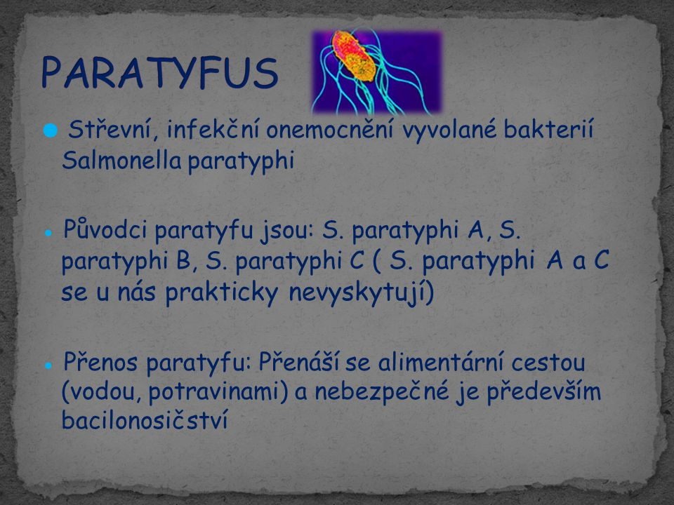 ● Střevní, infekční onemocnění vyvolané bakterií Salmonella paratyphi ● Původci paratyfu jsou: S. paratyphi A, S. paratyphi B, S. paratyphi C ( S. par