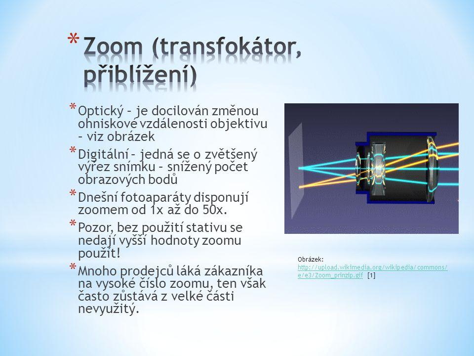 * Optický – je docilován změnou ohniskové vzdálenosti objektivu – viz obrázek * Digitální – jedná se o zvětšený výřez snímku – snížený počet obrazových bodů * Dnešní fotoaparáty disponují zoomem od 1x až do 50x.