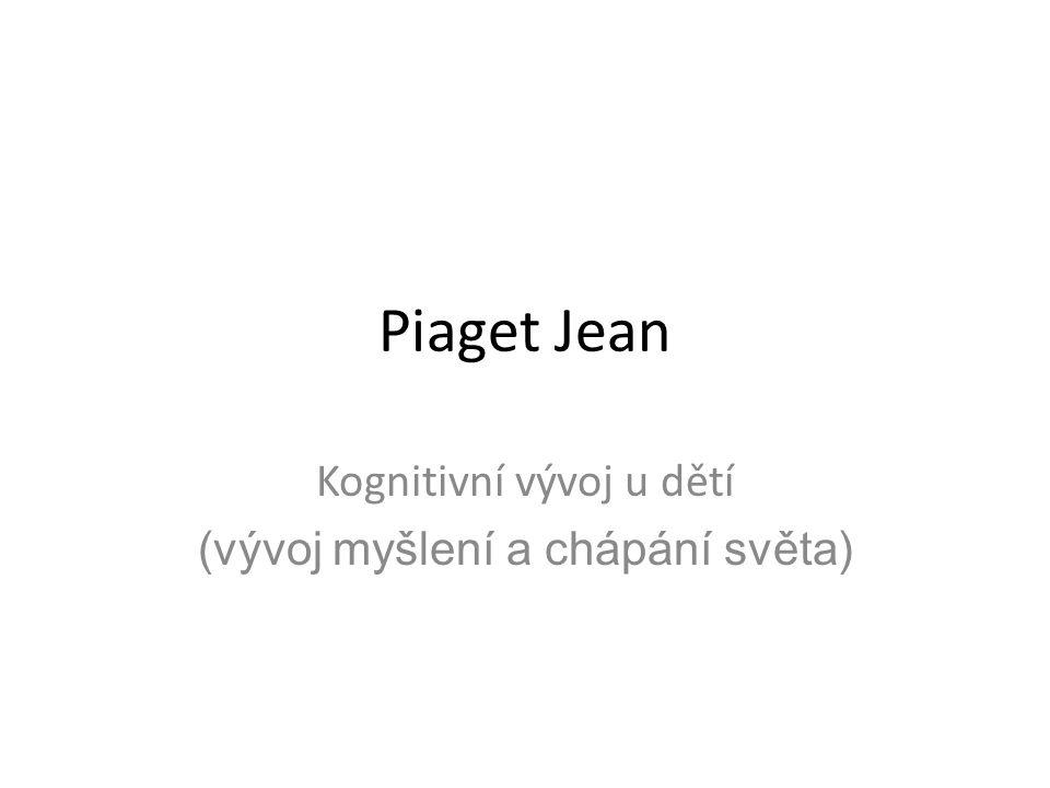 Piaget Jean Kognitivní vývoj u dětí (vývoj myšlení a chápání světa)