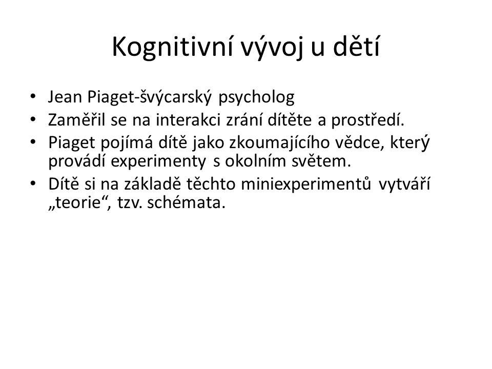Kognitivní vývoj u dětí Jean Piaget-švýcarský psycholog Zaměřil se na interakci zrání dítěte a prostředí. Piaget pojímá dítě jako zkoumajícího vědce,