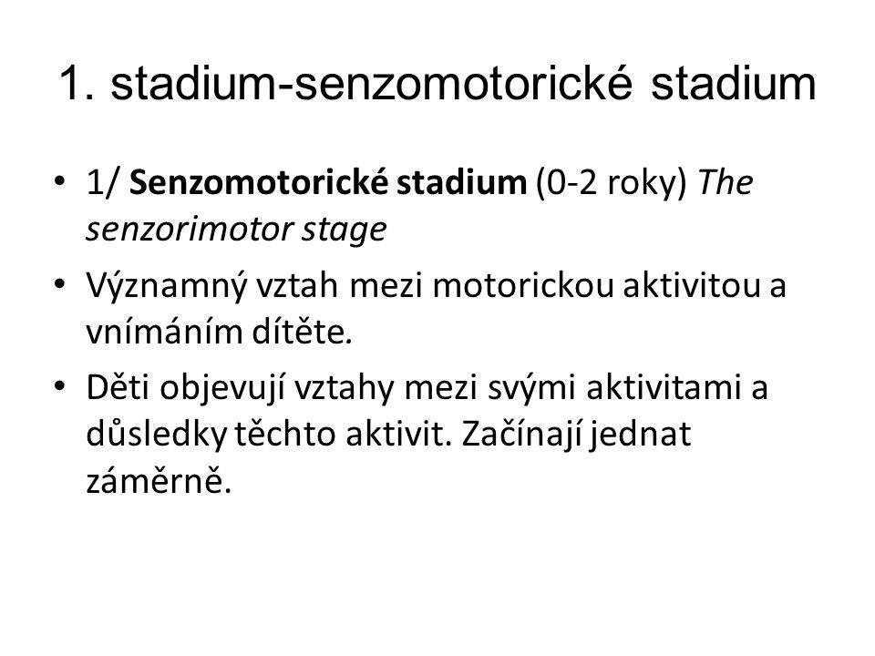 1. stadium-senzomotorické stadium 1/ Senzomotorické stadium (0-2 roky) The senzorimotor stage Významný vztah mezi motorickou aktivitou a vnímáním dítě