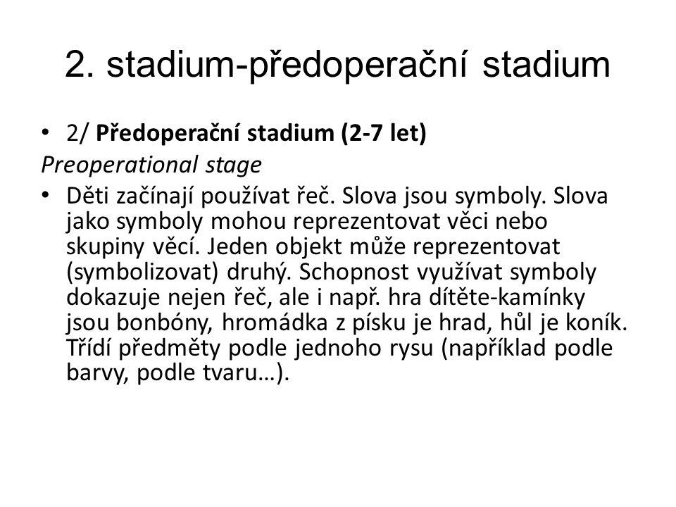 2. stadium-předoperační stadium 2/ Předoperační stadium (2-7 let) Preoperational stage Děti začínají používat řeč. Slova jsou symboly. Slova jako symb