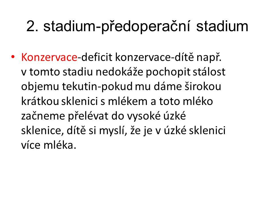 2.stadium-předoperační stadium Konzervace-deficit konzervace-dítě např.
