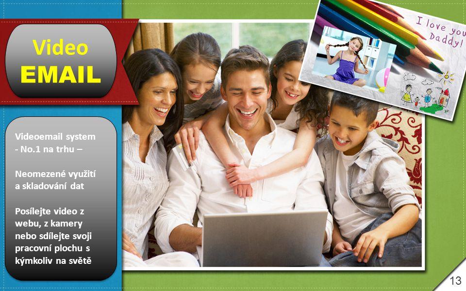 13 Video EMAIL Video EMAIL Videoemail system - No.1 na trhu – Neomezené využití a skladování dat Posílejte video z webu, z kamery nebo sdílejte svoji pracovní plochu s kýmkoliv na světě Videoemail system - No.1 na trhu – Neomezené využití a skladování dat Posílejte video z webu, z kamery nebo sdílejte svoji pracovní plochu s kýmkoliv na světě
