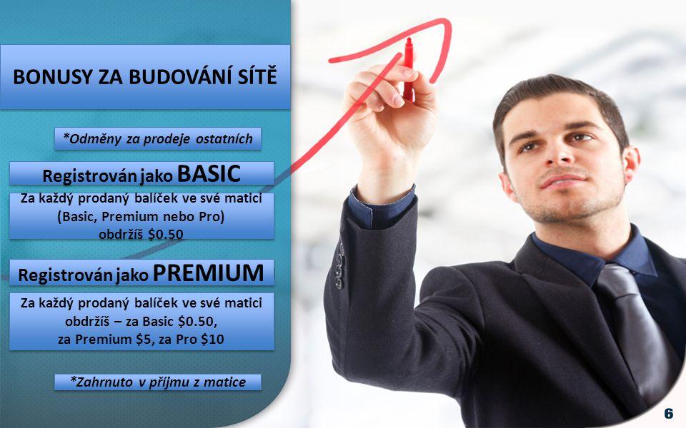 BONUSY ZA BUDOVÁNÍ SÍTĚ *Odměny za prodeje ostatních Registrován jako BASIC Registrován jako PREMIUM Za každý prodaný balíček ve své matici (Basic, Premium nebo Pro) obdržíš $0.50 Za každý prodaný balíček ve své matici (Basic, Premium nebo Pro) obdržíš $0.50 Za každý prodaný balíček ve své matici obdržíš – za Basic $0.50, za Premium $5, za Pro $10 Za každý prodaný balíček ve své matici obdržíš – za Basic $0.50, za Premium $5, za Pro $10 *Zahrnuto v příjmu z matice