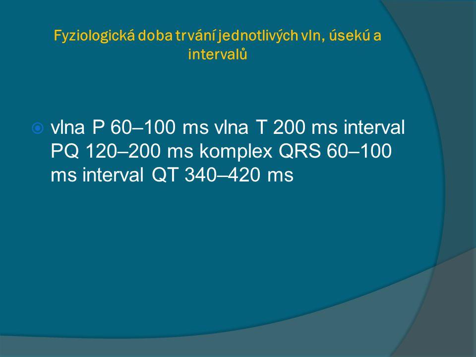 Fyziologická doba trvání jednotlivých vln, úsekú a intervalů  vlna P 60–100 ms vlna T 200 ms interval PQ 120–200 ms komplex QRS 60–100 ms interval QT 340–420 ms