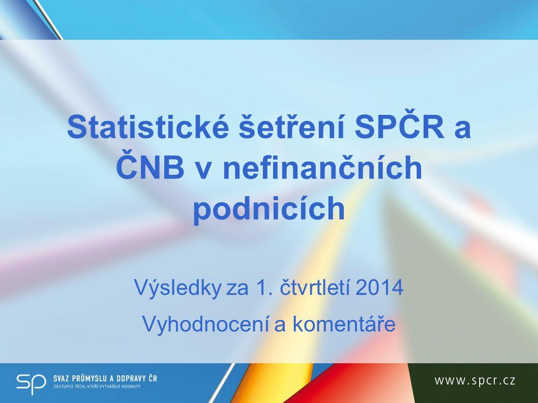 O šetření Pravidelné čtvrtletní šetření SPČR a ČNB Od počátku roku 2011, dodnes celkem 13 šetření 188 respondentů v šetření za 1.